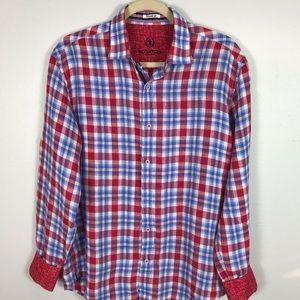 Bugatchi Mens LA SHIRT Med Red/Blue Plaid Linen